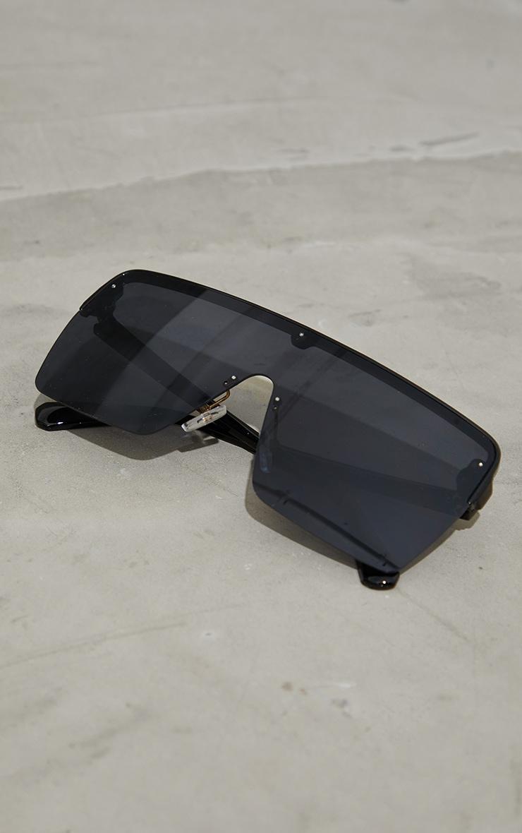 Black Single Lens Frameless Block Sunglasses 3