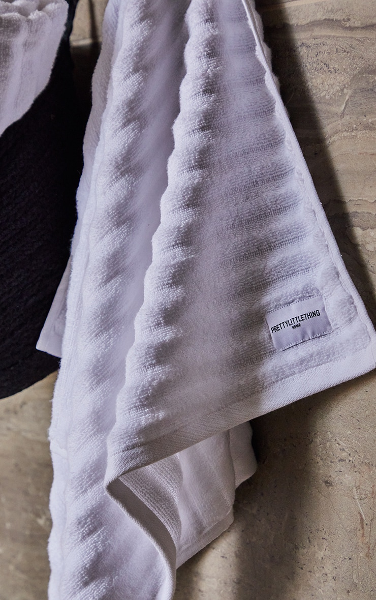 White Textured Ribbed 2 Pack Cotton Hand Towel 2