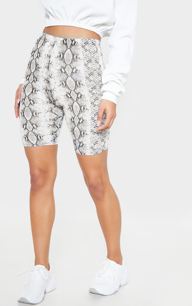 White Jersey Snake Print Cycle Short 2
