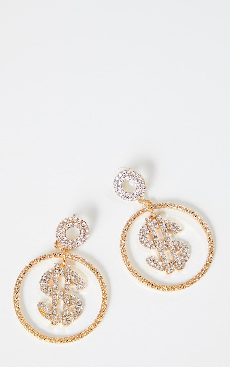 Gold Crystal Dollar Sign Medium Hoop Earrings 3