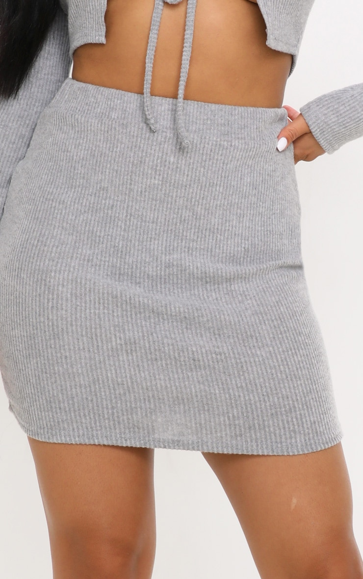 Petite Grey Brushed Rib Mini Skirt  6