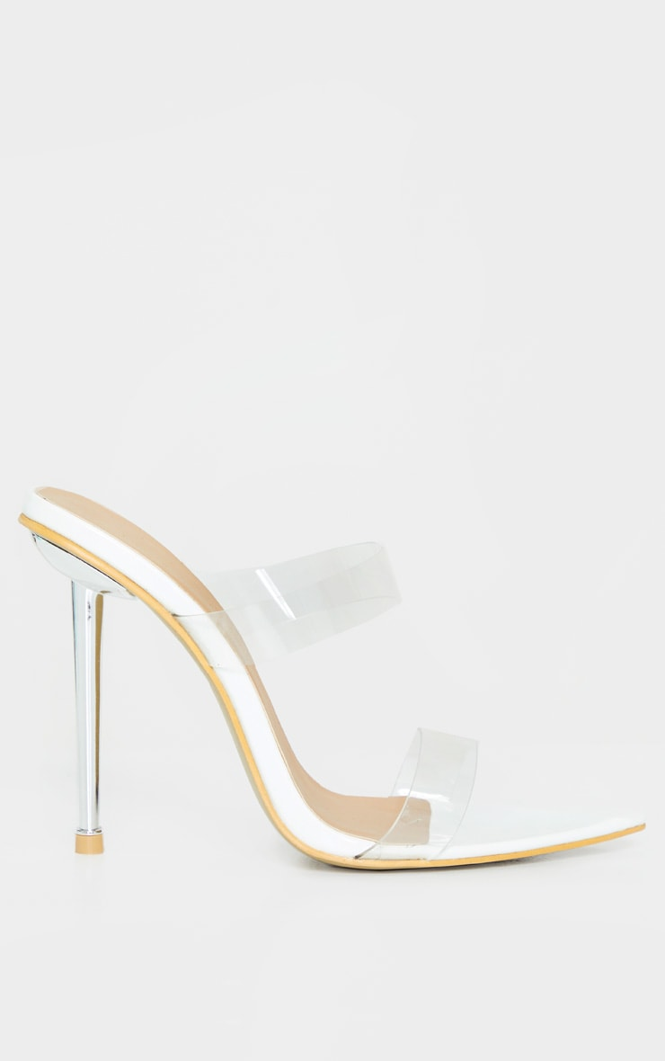 White Twin Strap Metal Heel Mule 4