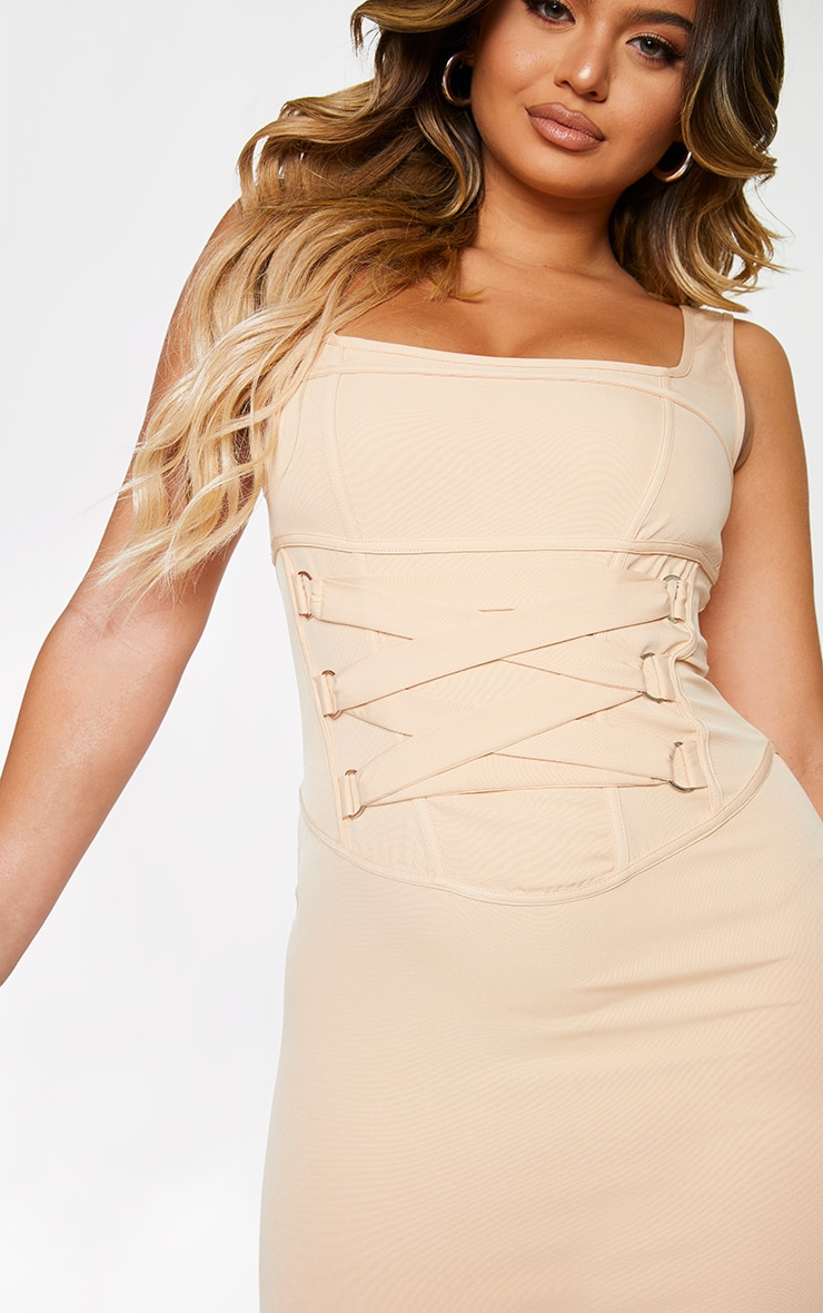 Sand Woven Corset Lace Up Detail Sleeveless Bodycon Dress 4