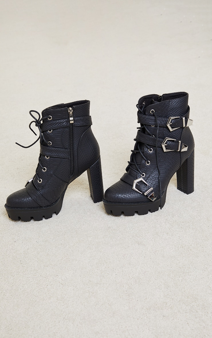 Black PU Croc Cleated Sole Triple Buckle Detail Heeled Ankle Boots 3