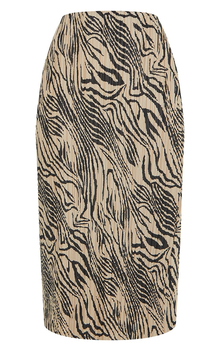 Zebra Print Plisse Printed Midi Skirt 5