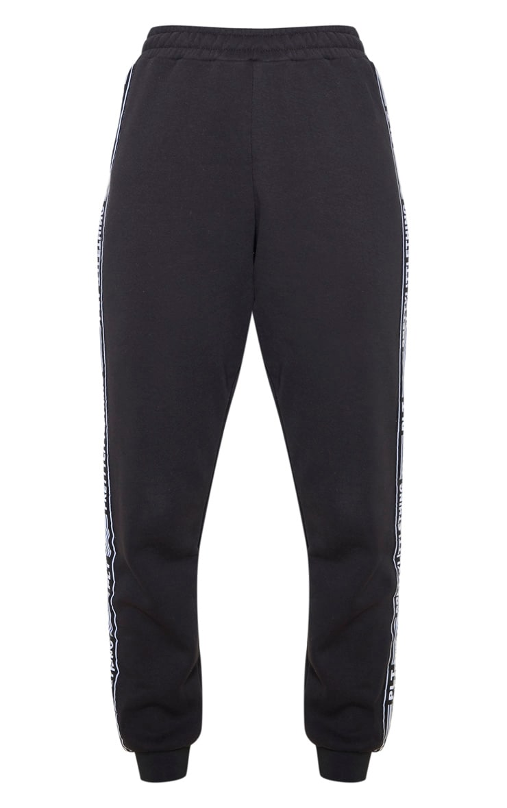 PRETTYLITTLETHING Black Tape Cuff Track Pants 3