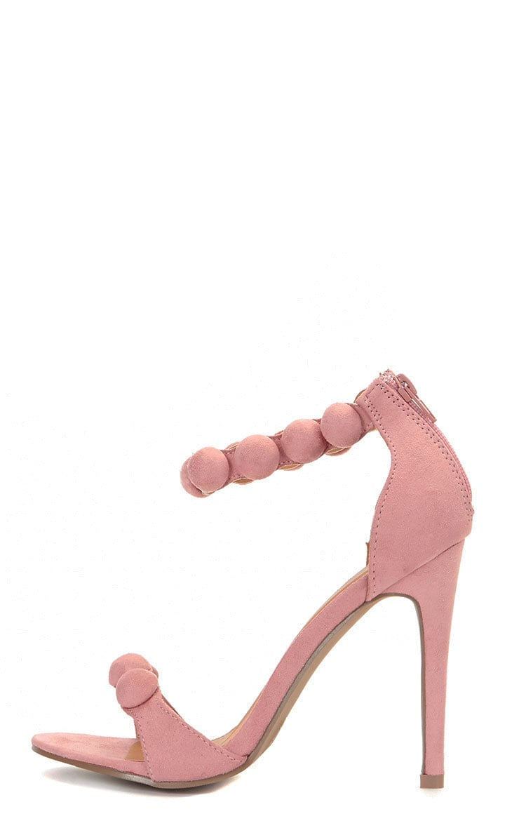 Una Pink Suede Studded Strappy Heeled Sandal 1