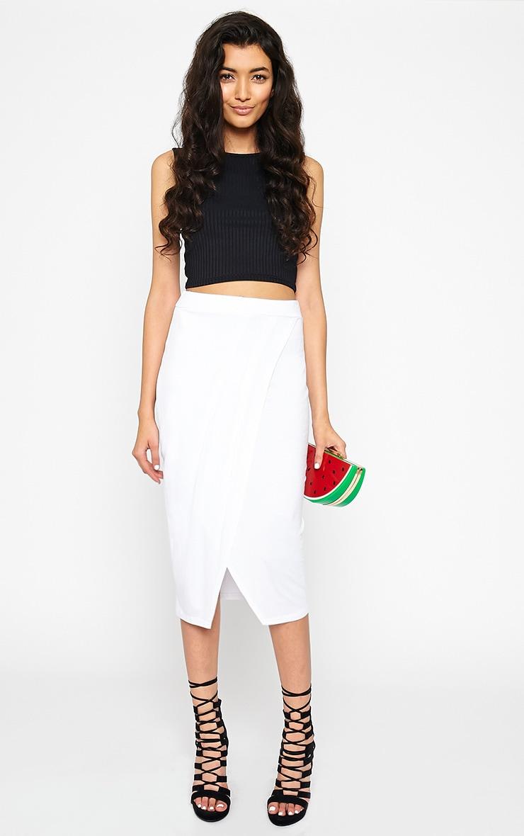 Sabbina White Jersey Wrap Midi Skirt 1