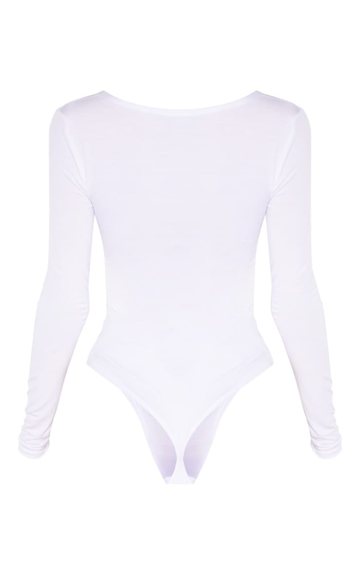 Tall White Basic Plunge Long Sleeve Bodysuit 6