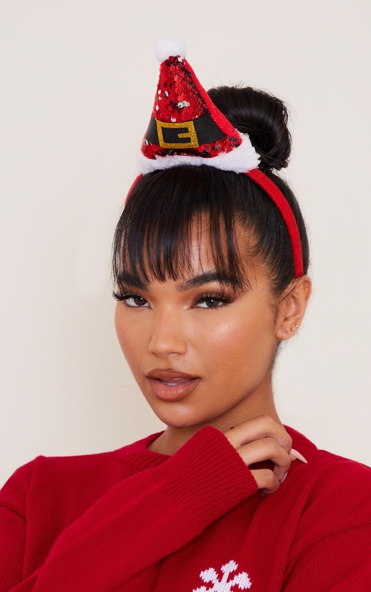 Red Sequin Santa Hat Headband 1