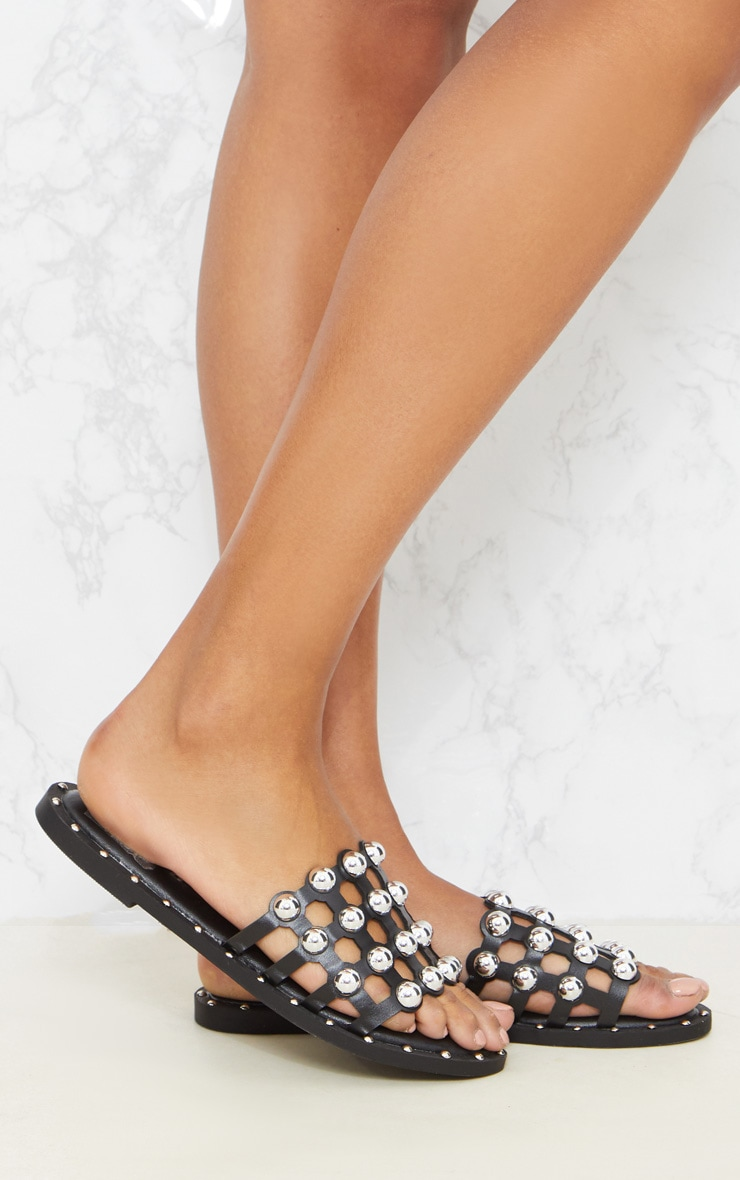 Black Dome Studded Mule Sandal