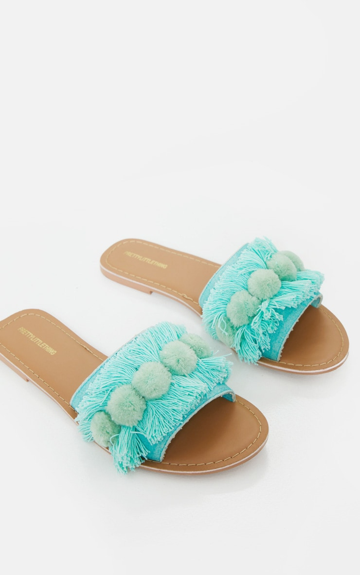 Mint Tassel And Pom Pom Mule Sandals 3