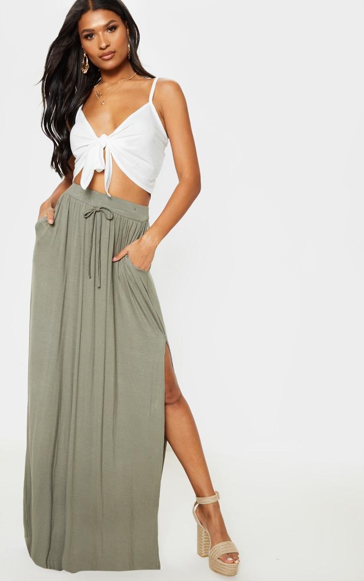 Olive Jersey Drawstring Maxi Skirt 1