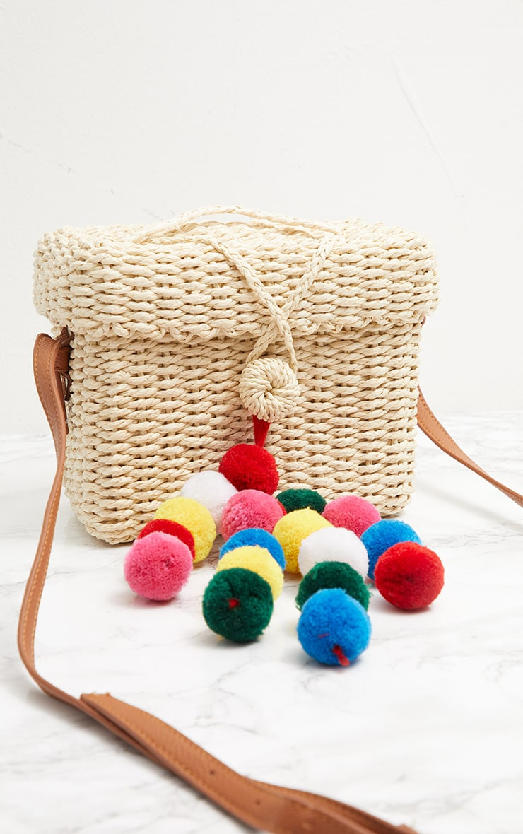 Straw Pom Pom Cross Body Bag 2