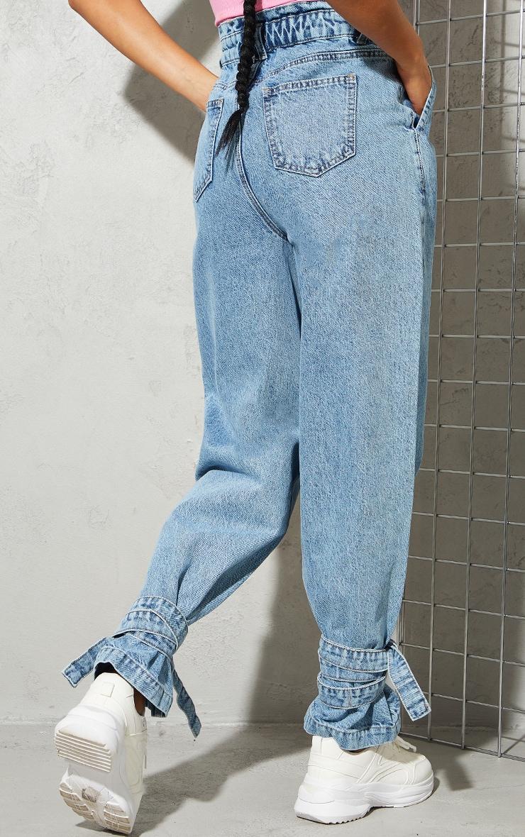 Bleach Wash Tie Hem Paperbag Jeans 3