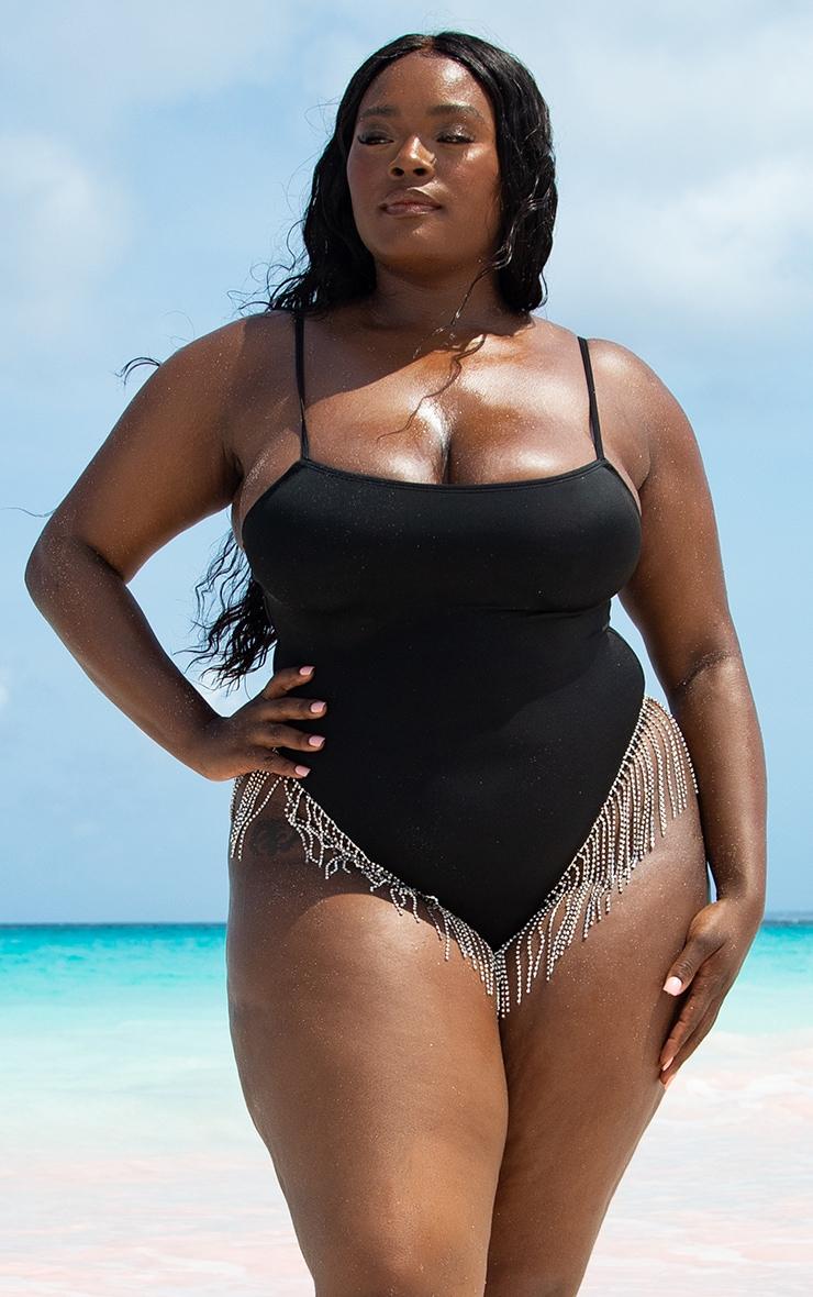Plus Black Diamante Trim Swimsuit 1