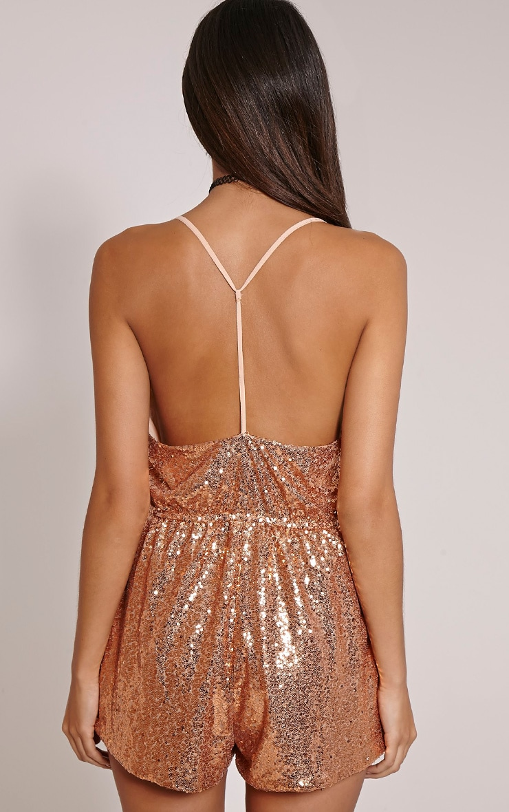 Tay Nude Sequin T Bar Sequin Playsuit 2