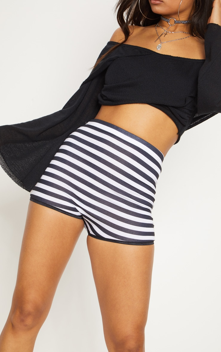 Black High Waisted Stripe Hot Pant 6