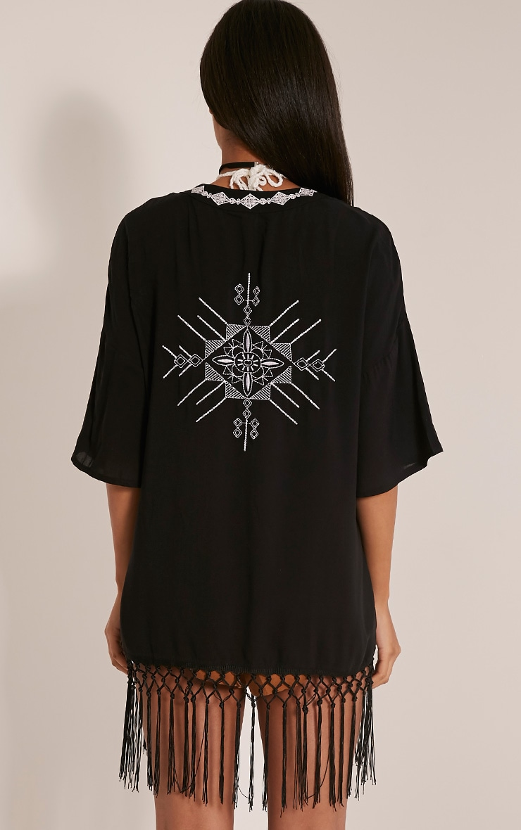 Angelina Black Tassel Trim Kimono 2