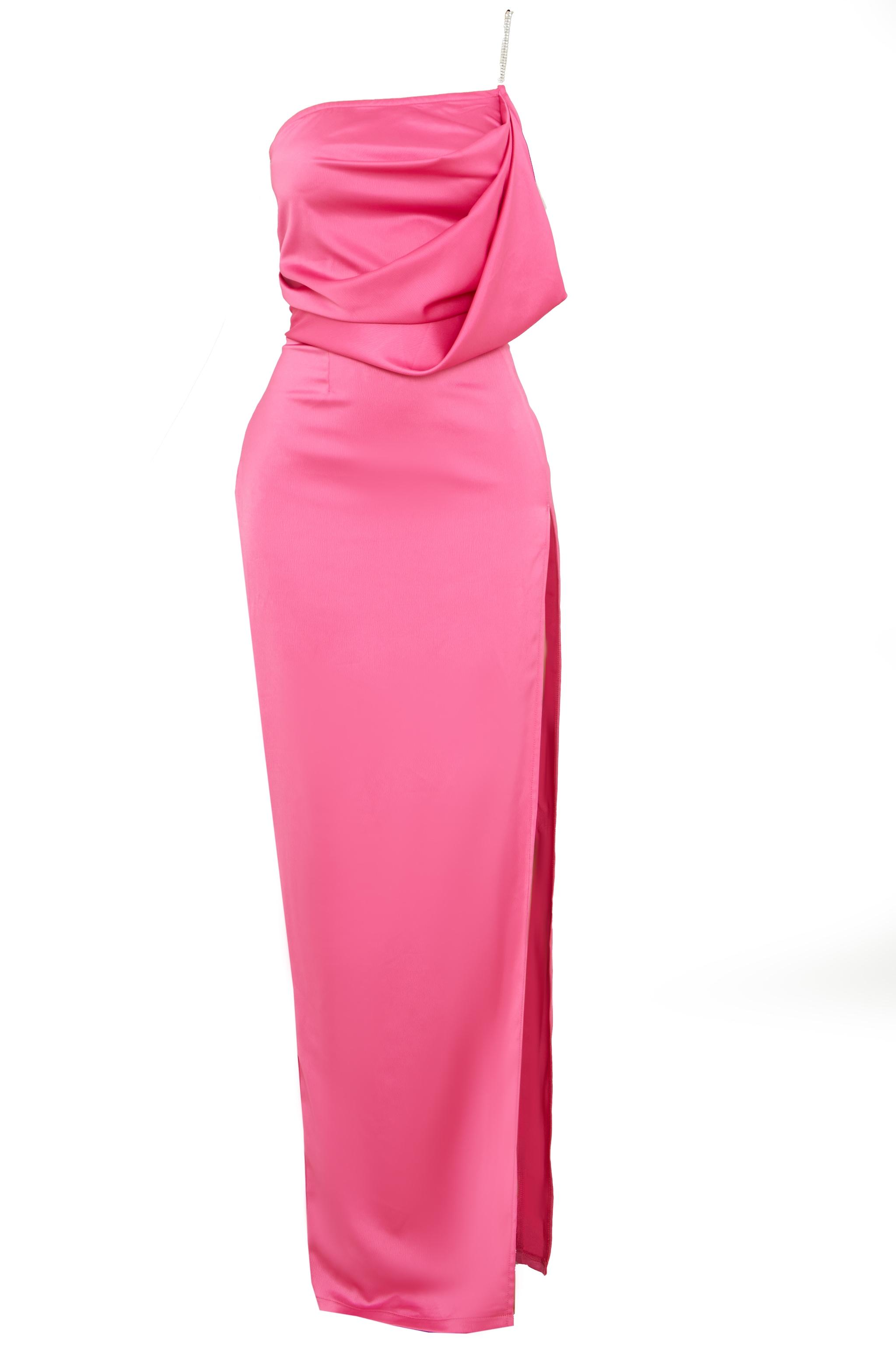 Hot Pink Satin Diamante One Shoulder Drape Maxi Dress 6
