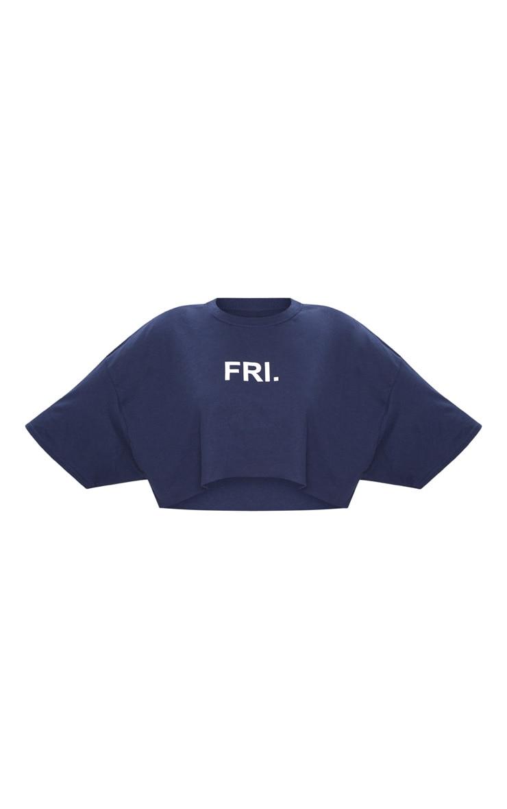Plus Navy FRI Slogan Cropped T Shirt 3