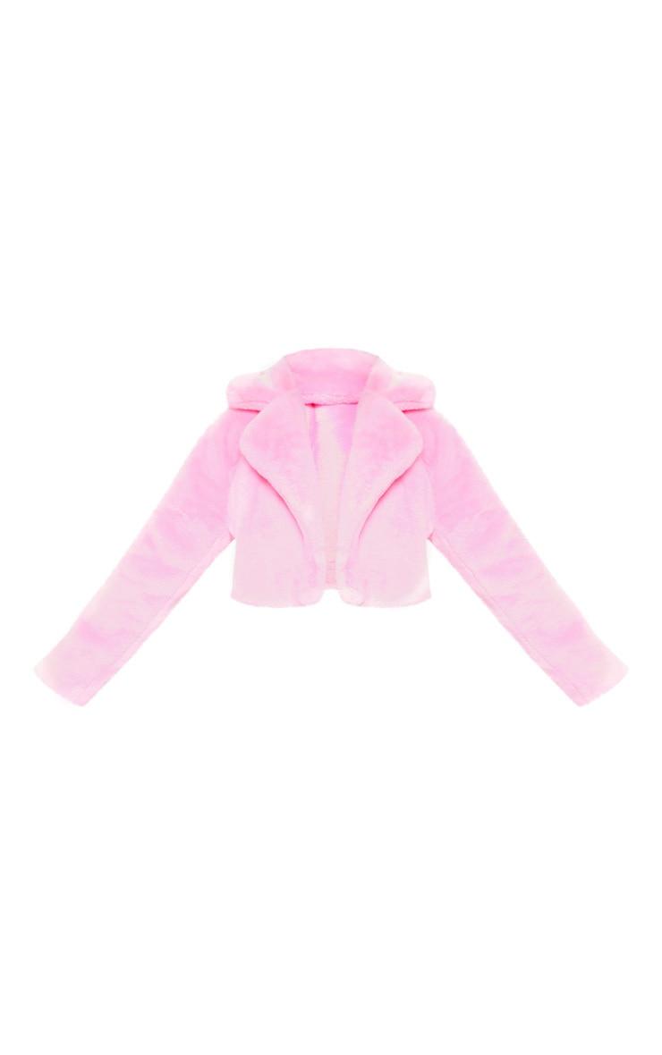 Plus Pink Faux Fur Cropped Jacket  3