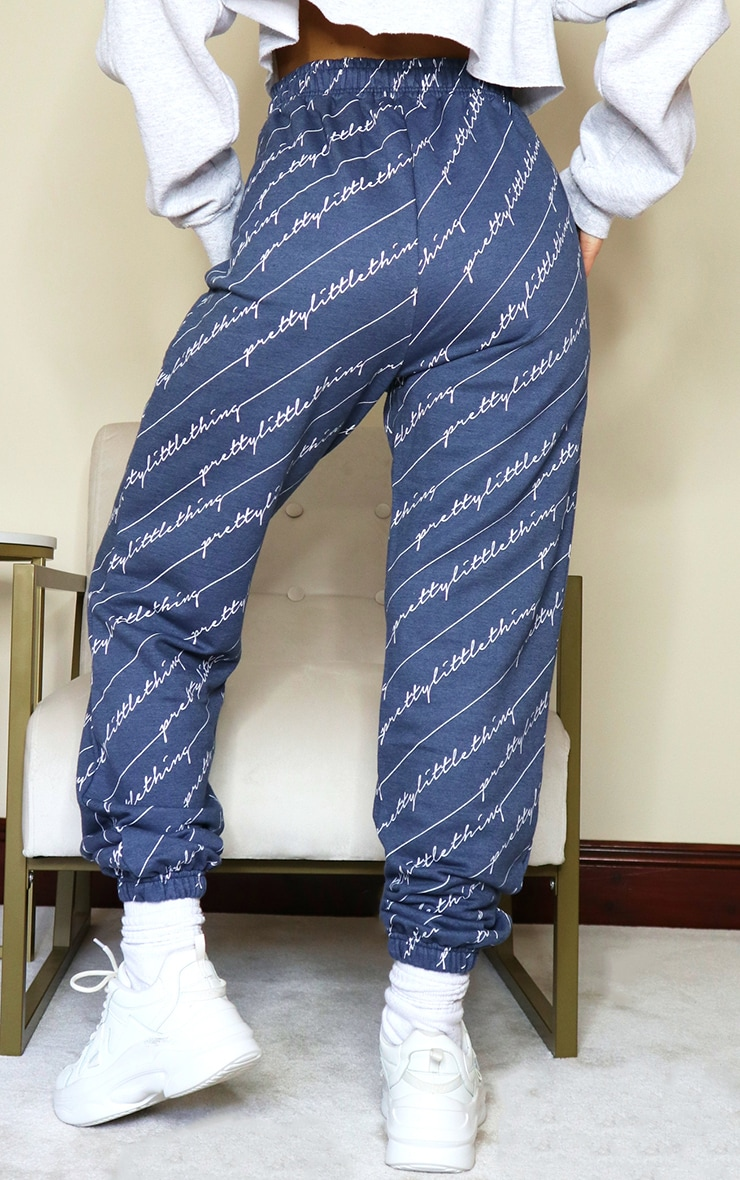 PRETTYLITTLETHING Navy Printed Joggers 3