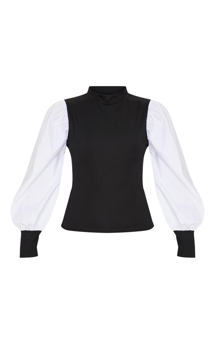 Black Rib Roll Neck Woven Sleeve Top 3