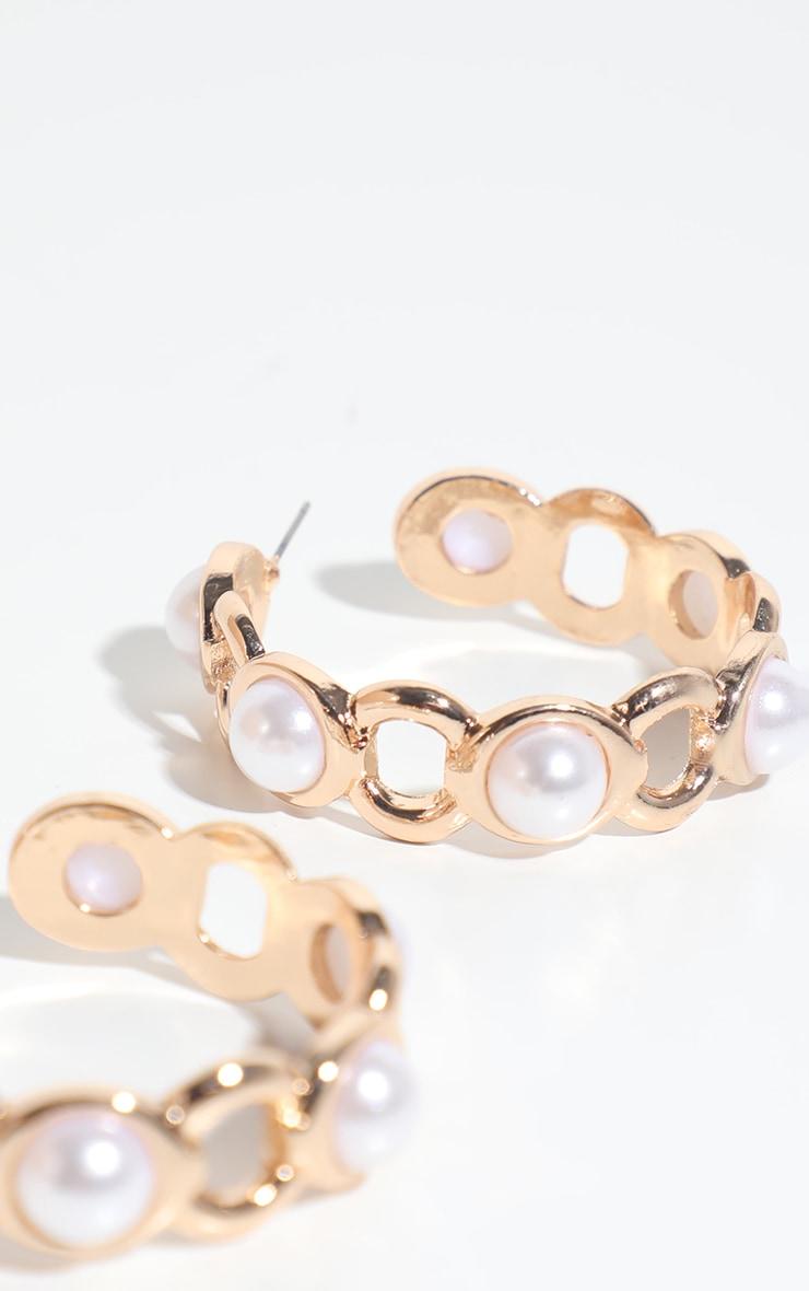Gold Chunky Pearl Chain Hoop Earring 1