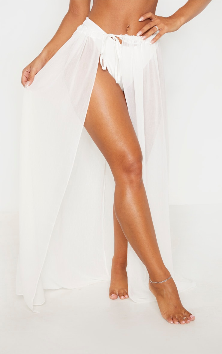 White Adjustable Maxi Beach Skirt 2