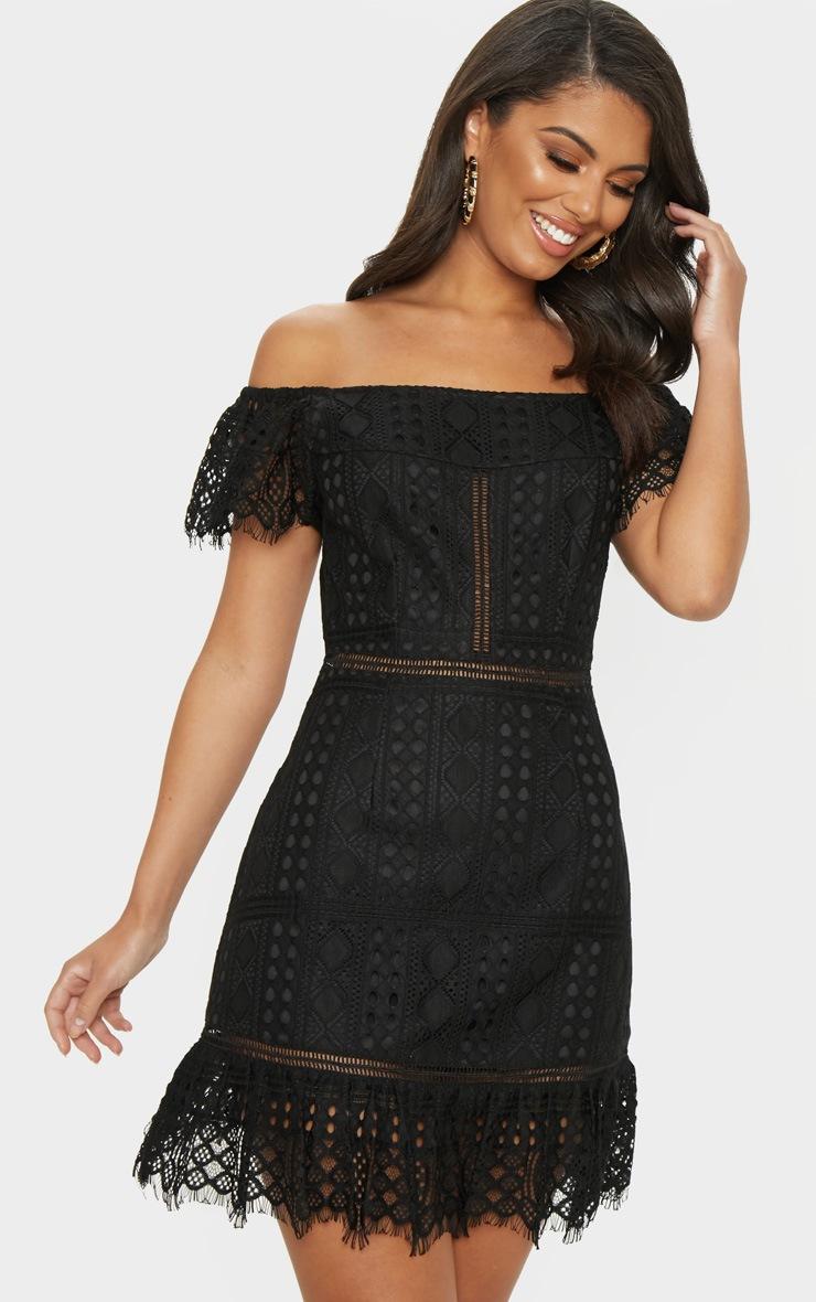 Black Bardot Lace Frill Hem Shift Dress 4