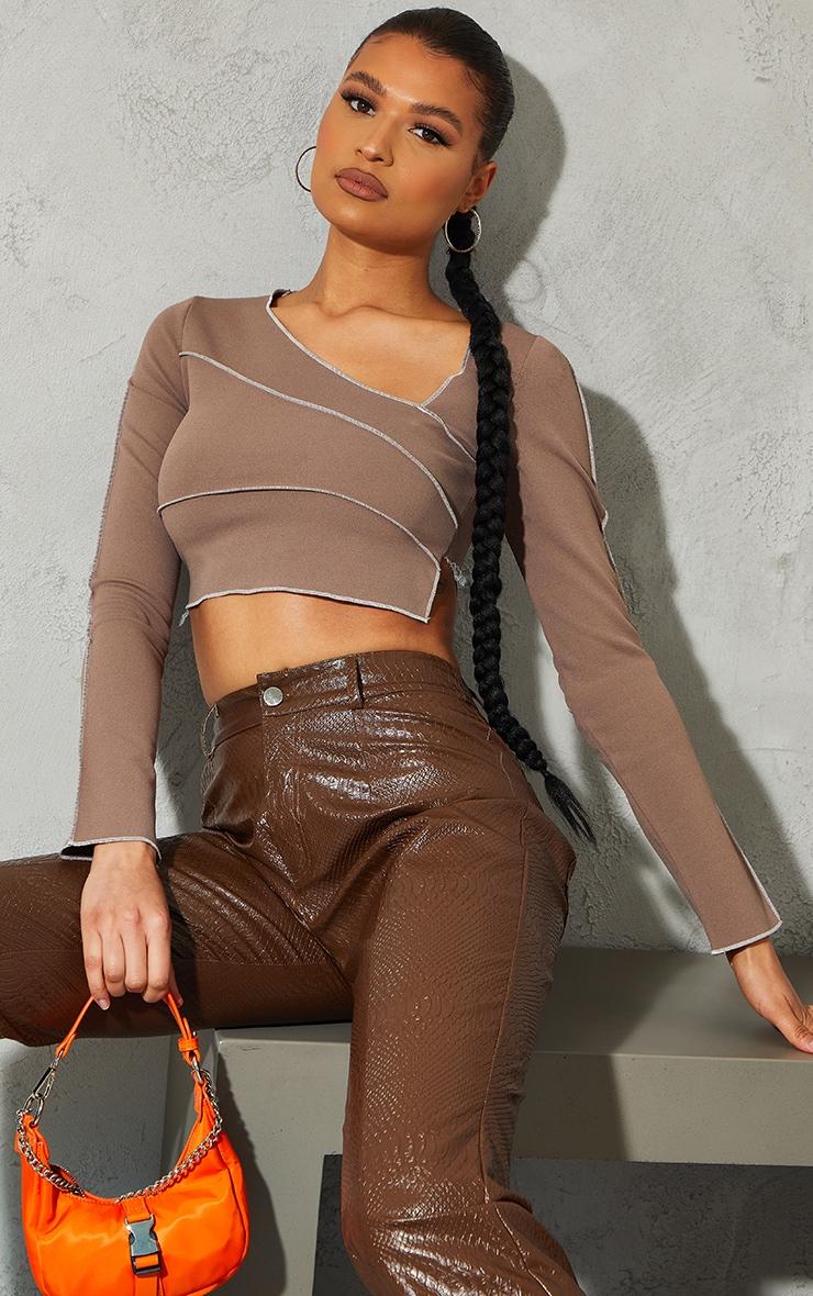 Mocha Crepe Contrast Seam Asymmetric Neck Long Sleeve Crop Top 1