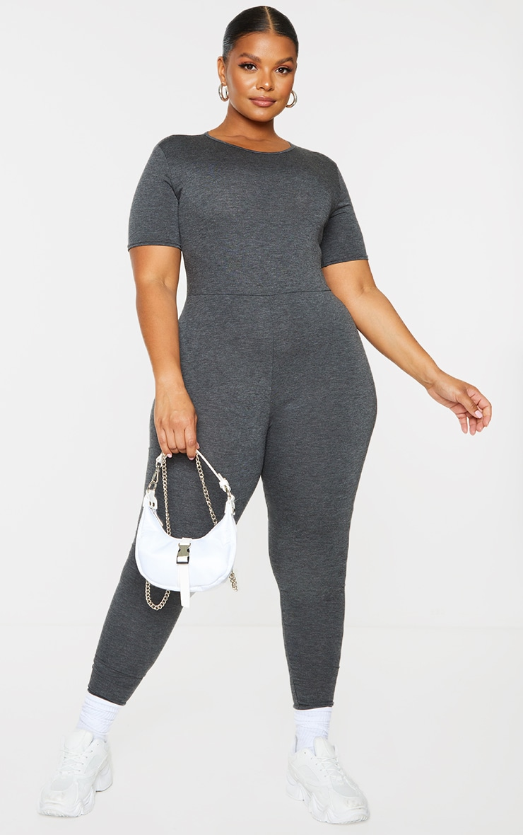 Plus Charcoal Short Sleeve Basic Jumpsuit