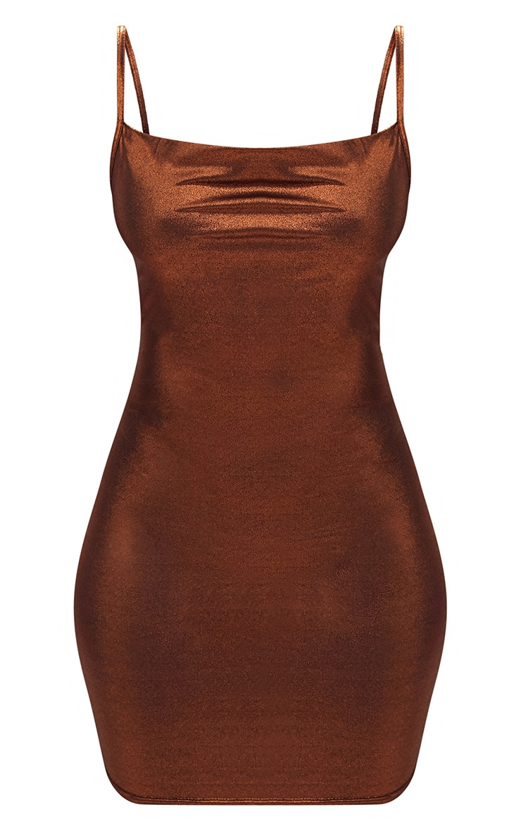 Bronze Metallic Cowl Neck Strappy Bodycon Dress 3
