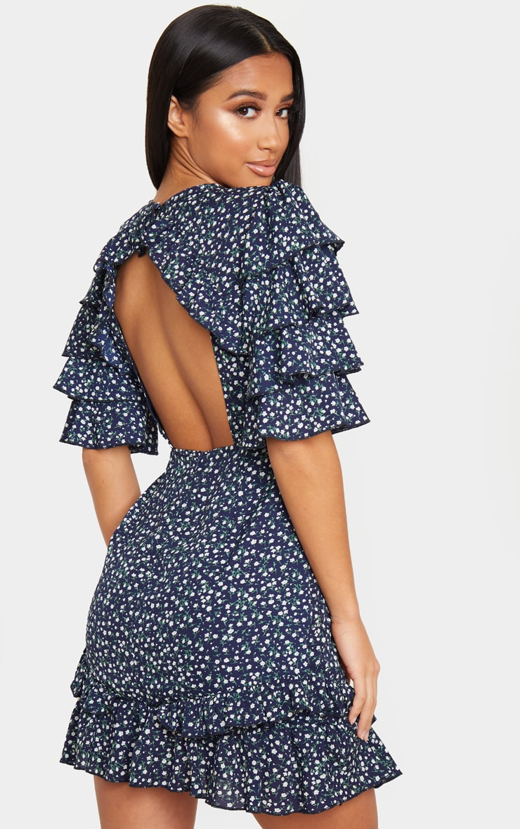Petite Navy Ditsy Floral Open Back Frill Sleeve Mini Dress 2