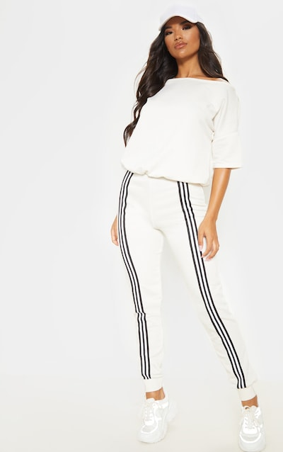 Ecru Loopback Sports Stripe Jumpsuit