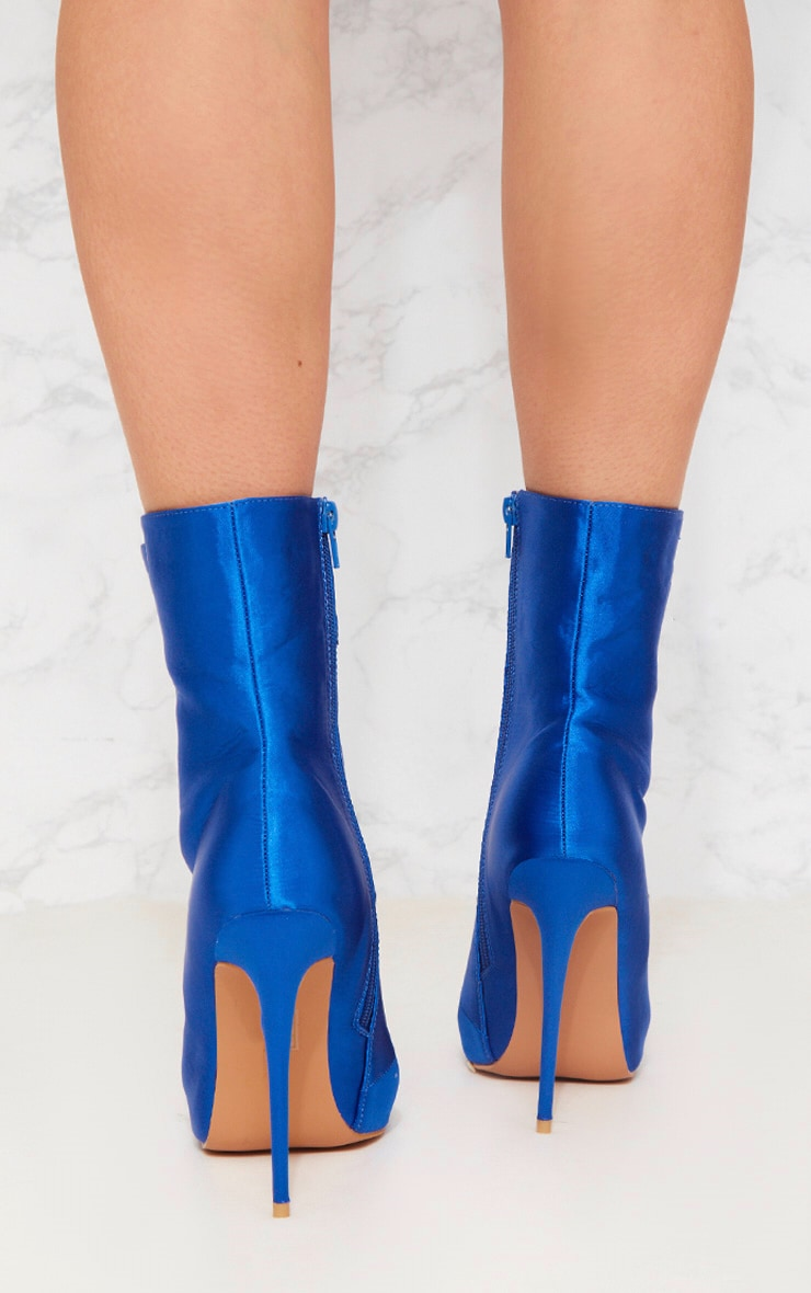 Cobalt Satin Lace Up Heeled Boot 2