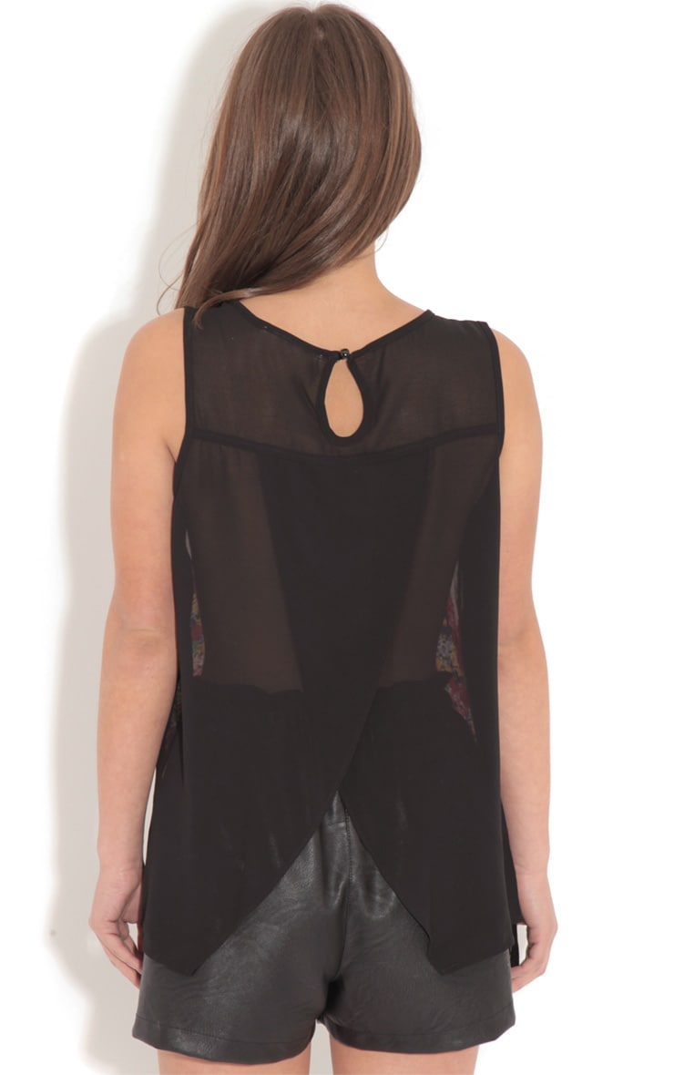 Lou Floral Silky Mix Vest With Sheer Cross Over Back 2