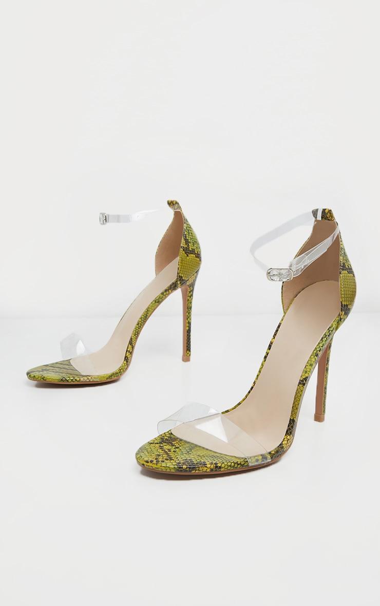 Sandales à brides à imprimé serpent vert citron fluo 3