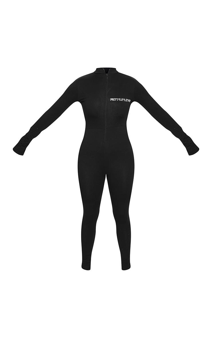 PRETTYLITTLETHING - Combinaison moulante noire à zip et broderie 5