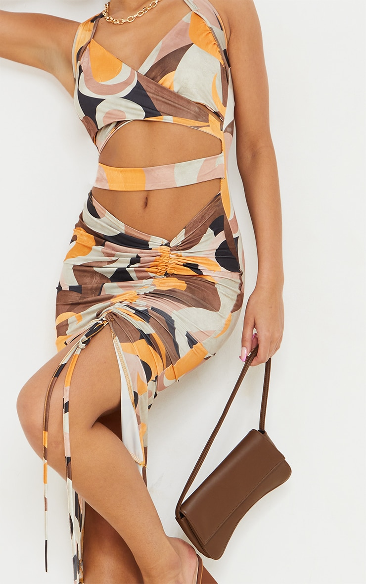 Multi Abstract Print Slinky Halterneck Cut Out Ruched Skirt Midi Dress 4