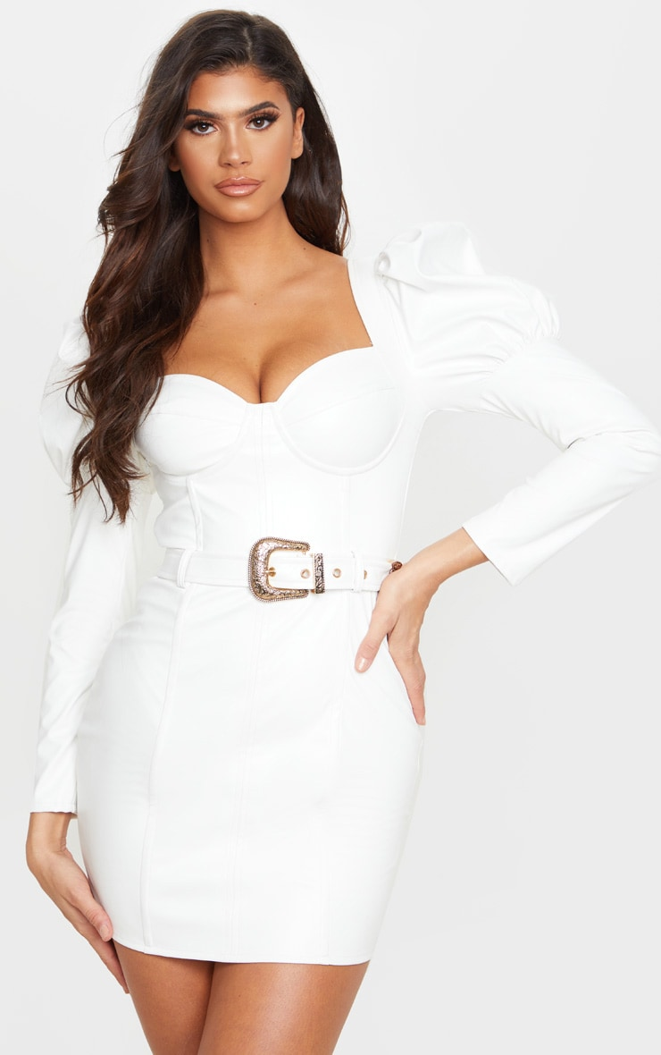 White PU Puff Shoulder Belt Detail Bodycon Dress 1