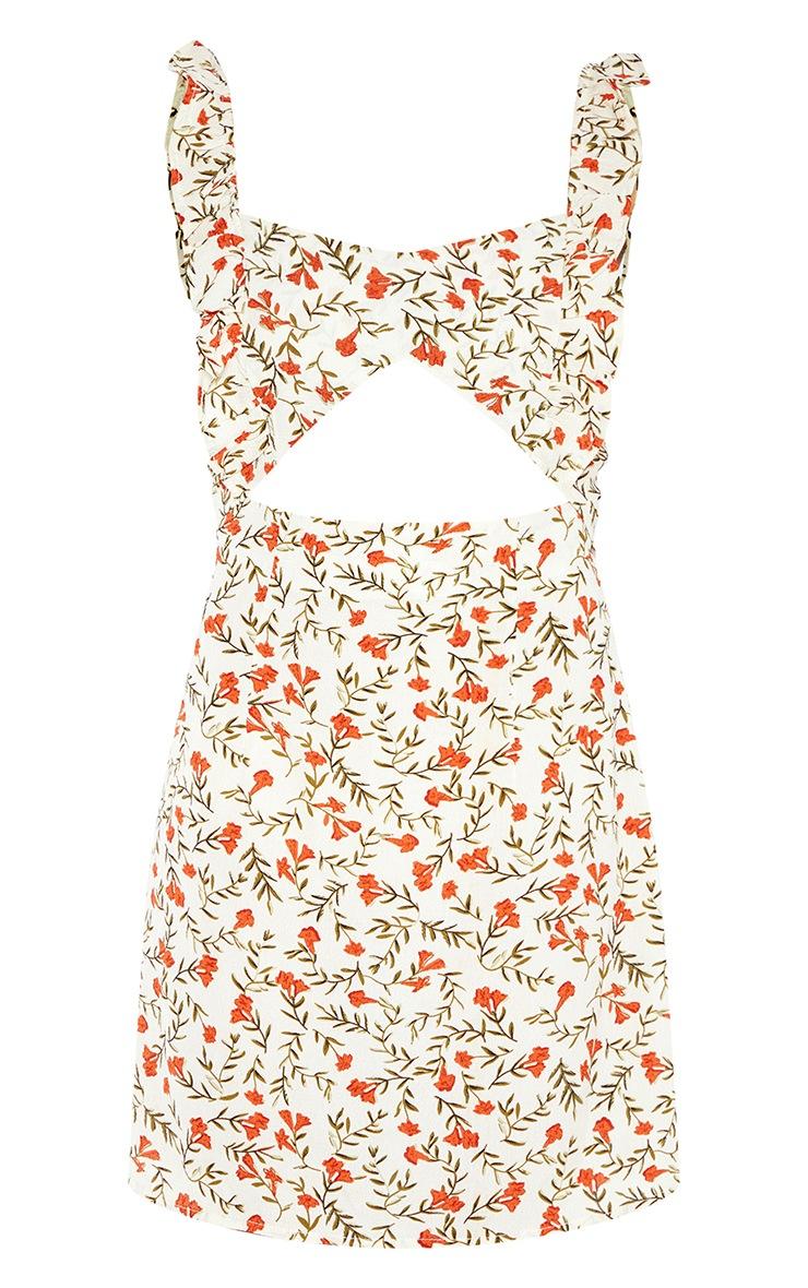 White Ditsy Leaf Print Cut Out Frill Tea Dress 3