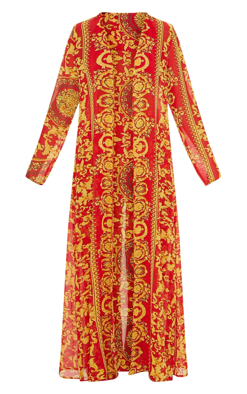 Red Chain Print Beach Kimono 3