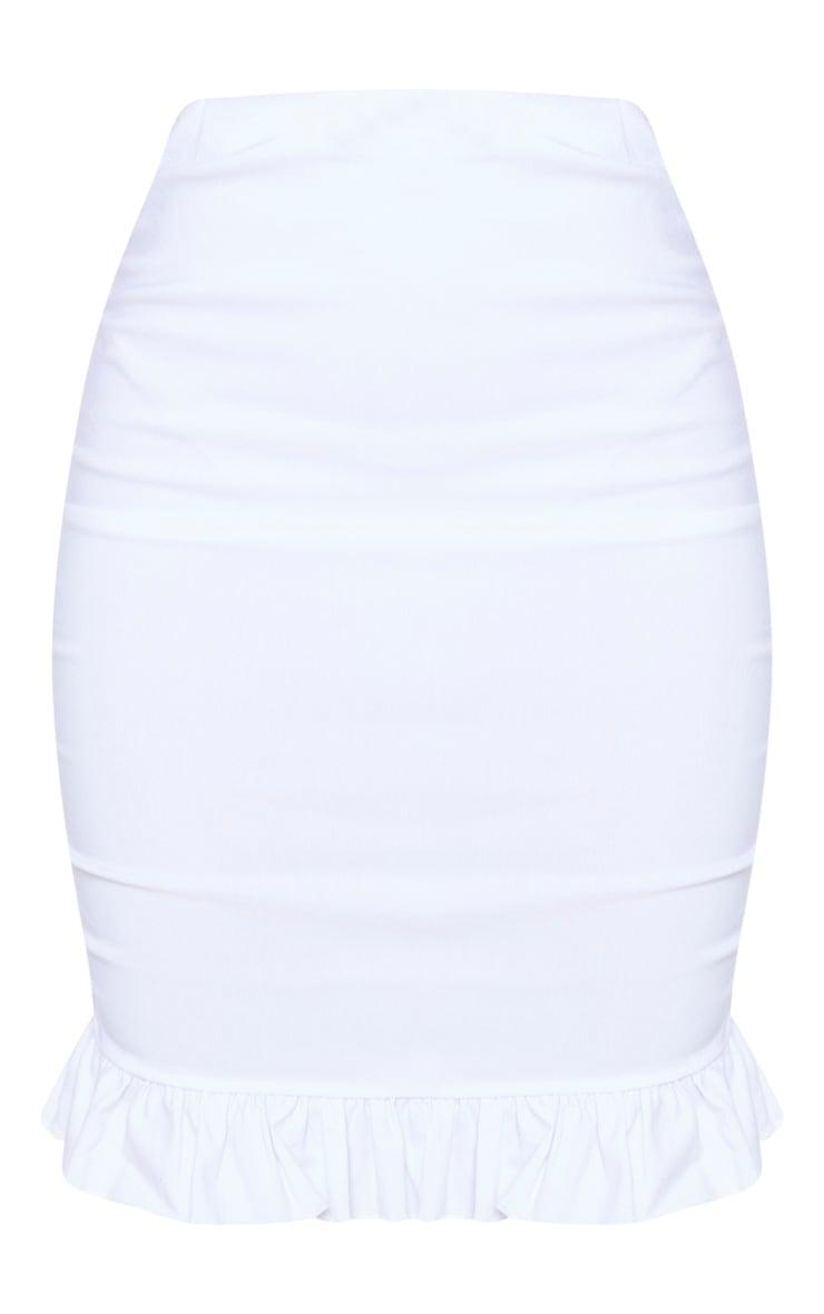 White Woven Stretch Ruched Side Frill Hem Mini Skirt 6