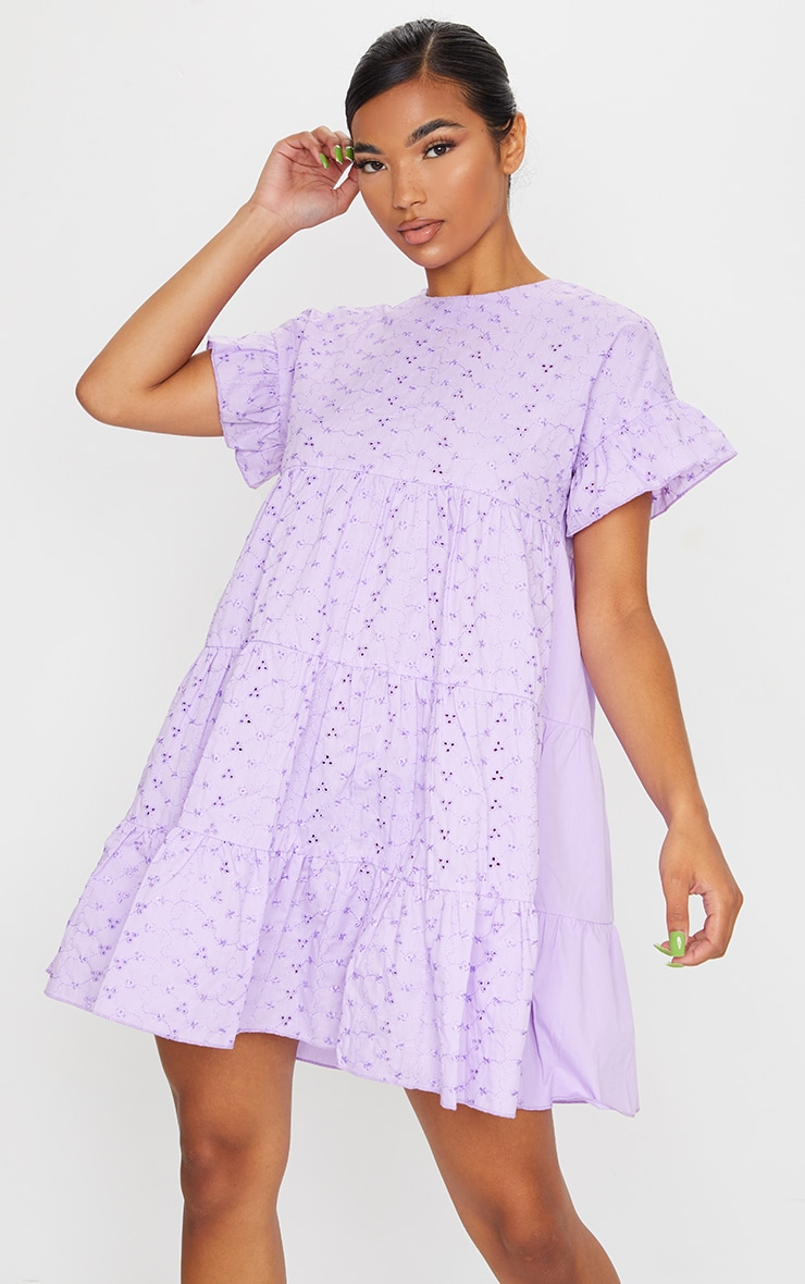 Lilac Broderie Anglaise Smock Dress 1