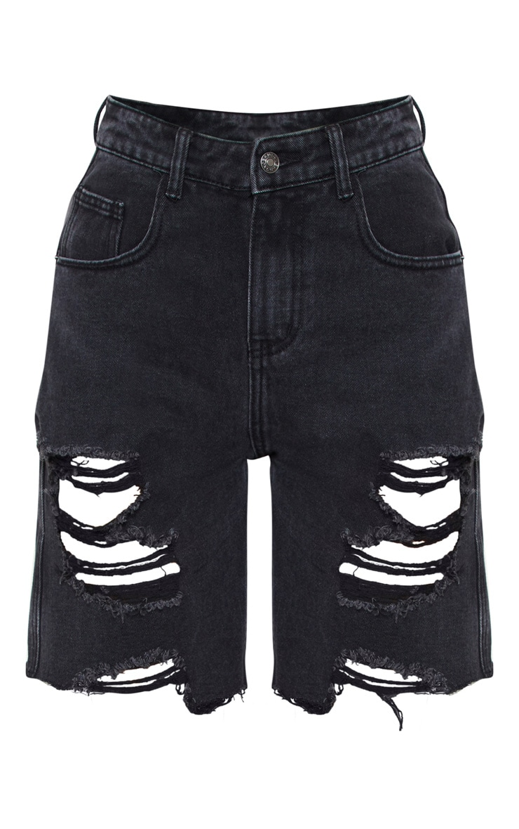 Washed Black Heavy Distressed Mom Shorts 3