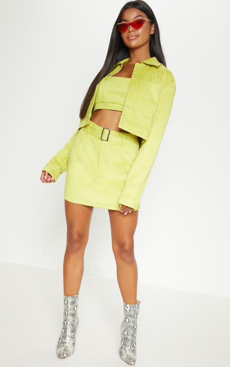 Lime Green Bonded Suede Crop Jacket 5