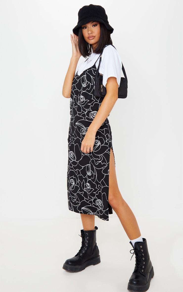 Black Scribble Print Jersey Split Cami Midi Dress 4