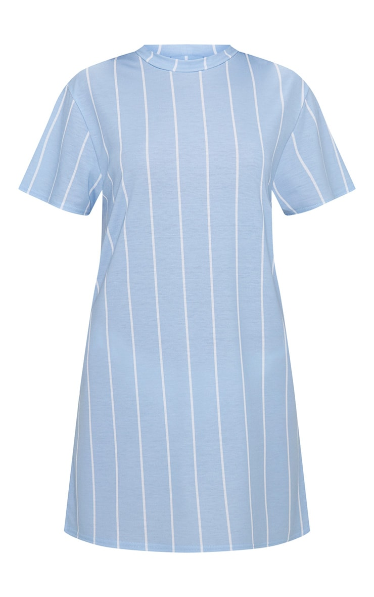 Pastel Blue Stripe Print T Shirt Dress 3